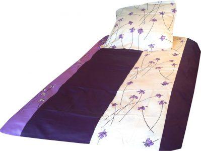 satyna bawełniana fioletowe stokrotki 2