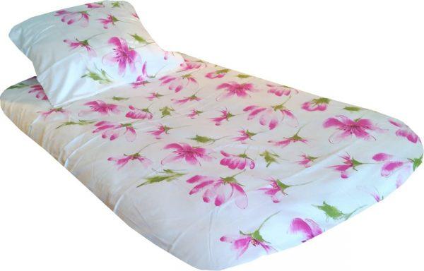 satyna bawelniana rozowe kwiaty